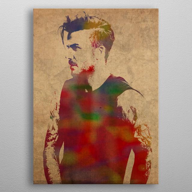 David Beckham Watercolor Portrait metal poster