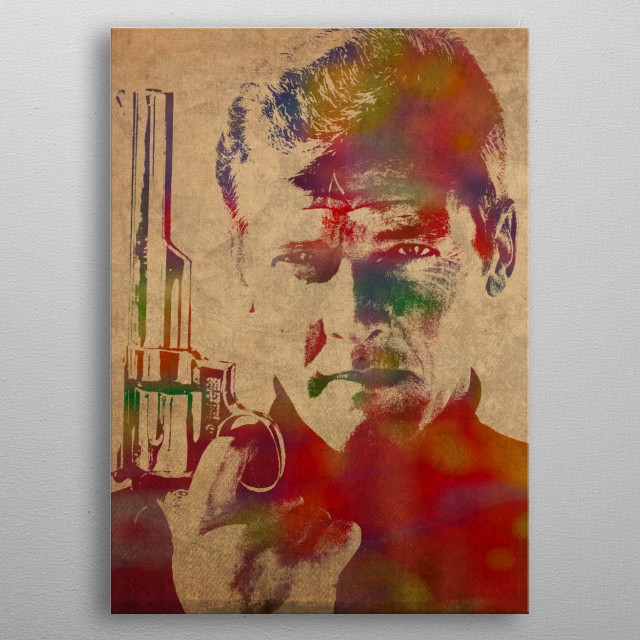 Roger Moore as James Bond Watercolor Portrait metal poster