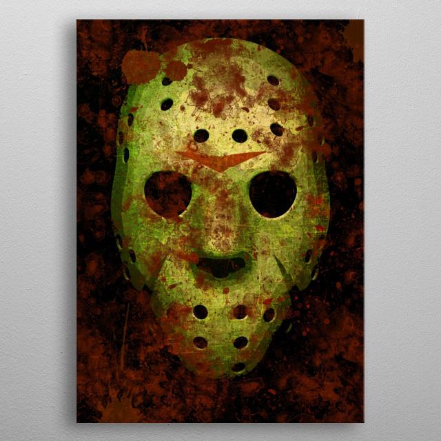 mask found at Camp Crystal Lake metal poster