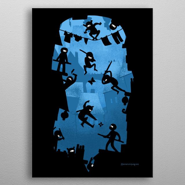 Ninja Kick Ass Clash metal poster