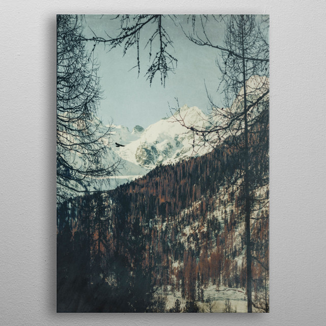 Be in my Dream View from a rest area on Julierstrasse  our way through the Swiss Alps. Textured photograph metal poster