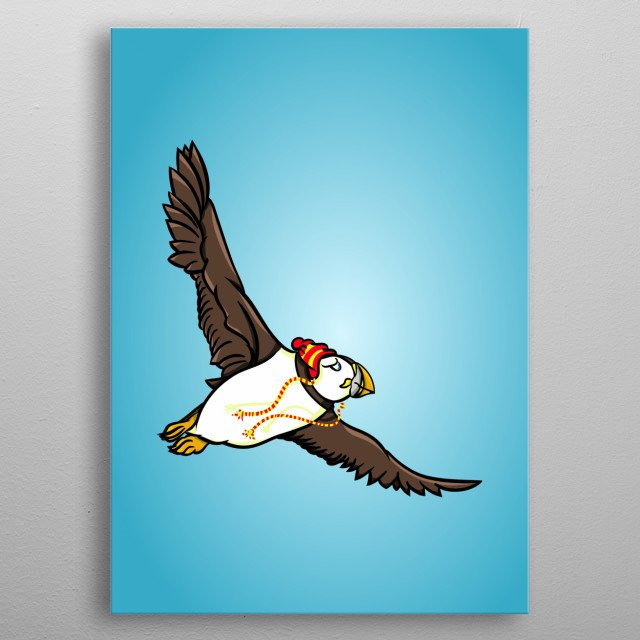 A funny cartoon style illustration showing a puffin wearing a red and yellow woolen hat. metal poster