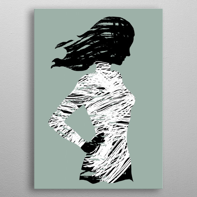 Silhouettes appear through brushstrokes. metal poster
