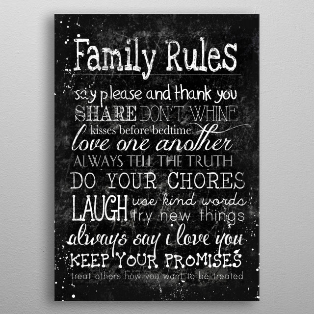 Family Rules metal poster