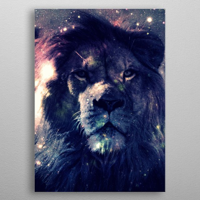 Leo Lion : Deep Pastels My has collected lions my entire life. I started this series with him in mind. My love of space led me to combine my ... metal poster