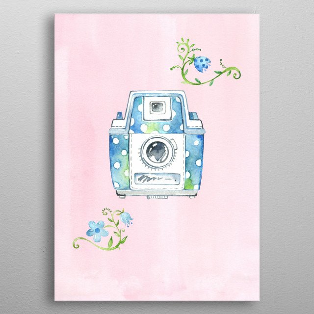 A blue vintage camera in watercolour with white dots and blue flowers. metal poster
