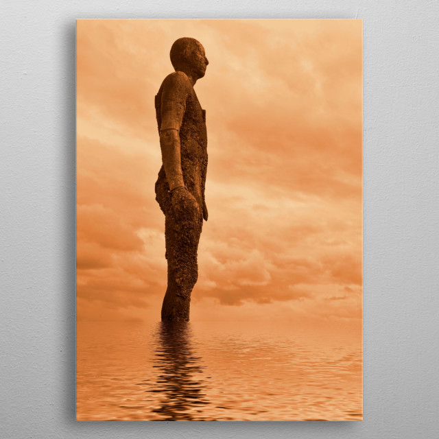An image taken at Anthony Gormley's Another place in Crosby and edited in photoshop metal poster