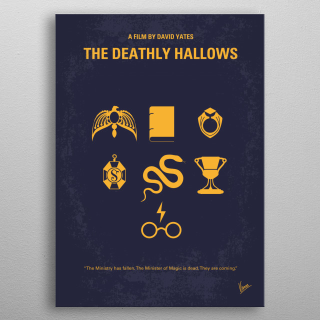 No101-7 My HP - DEATHLY HALLOWS minimal movie poster  As Harry races against time and evil to destroy the Horcruxes, he uncovers the existenc... metal poster