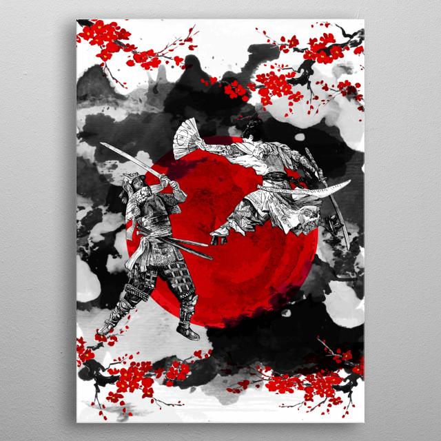 Samurai Fighting metal poster