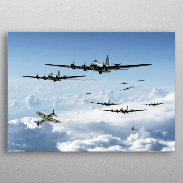 B17 Flying Fortresses battle across Europe amid gret odds to reach their targets metal poster