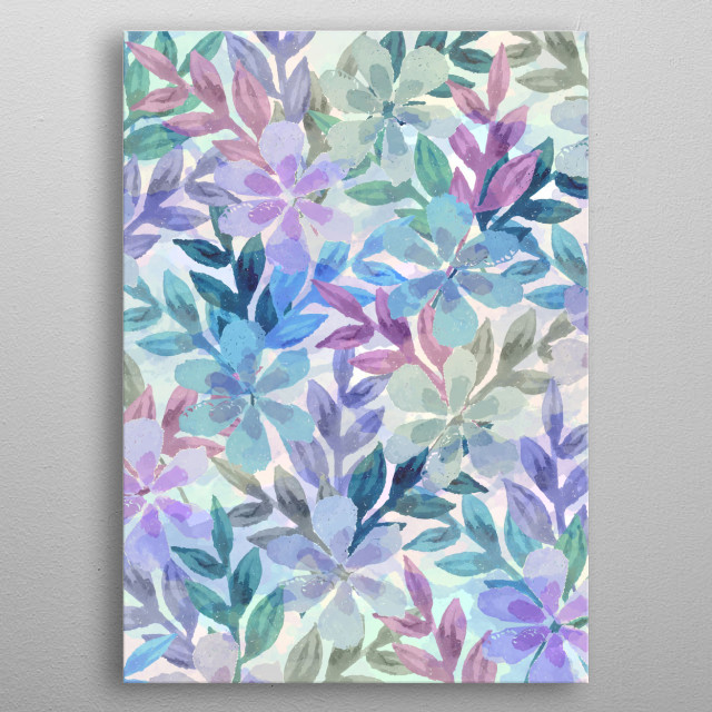 watercolor Botanical garden I metal poster