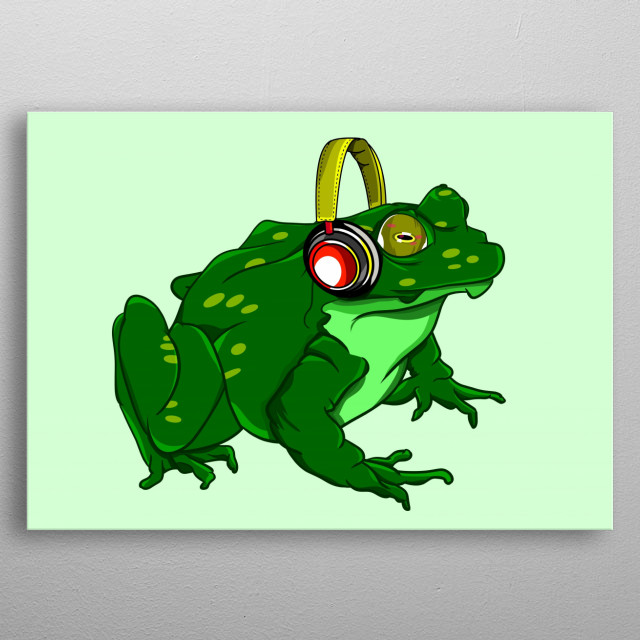 A funny green bullfrog listening to music on it's headphones.  metal poster
