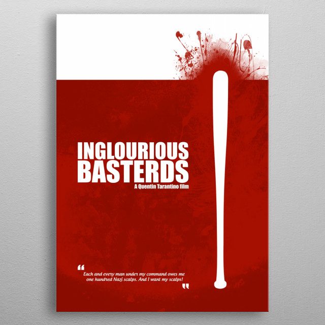 Inglourious Basterds. Minimal Movie Poster - A Quentin Tarantino Film. metal poster