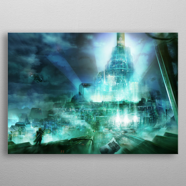 Concept Art of Final Fantasy 7, Cloud going to the Shin... metal poster