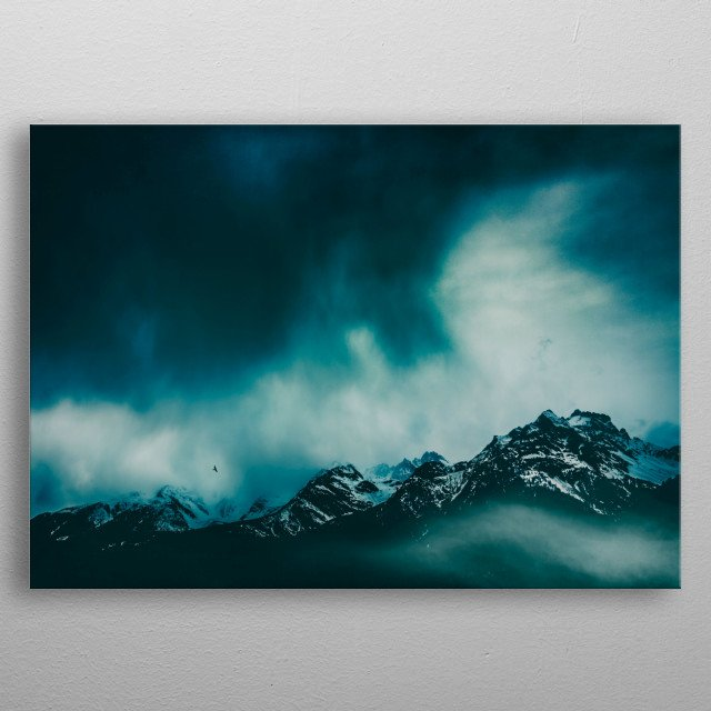 Wild Peaks - mountains on a stormy day metal poster
