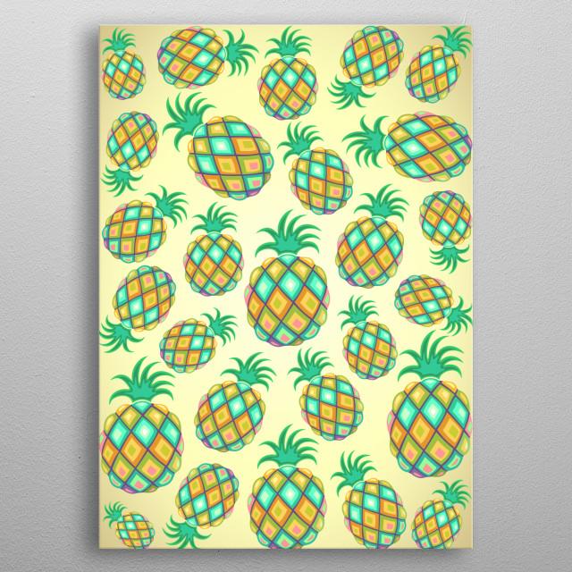 Pineapple Pastel Colors Decorative Pattern metal poster