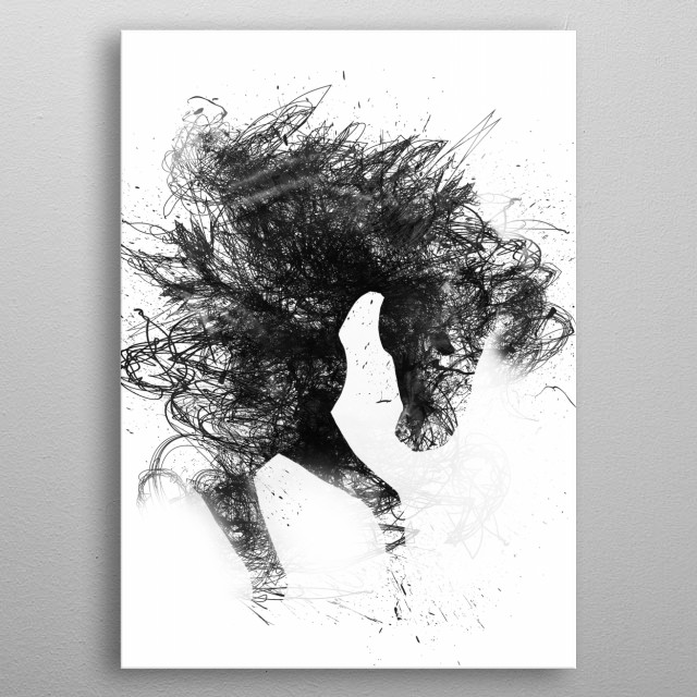 Diablo the wild horse metal poster