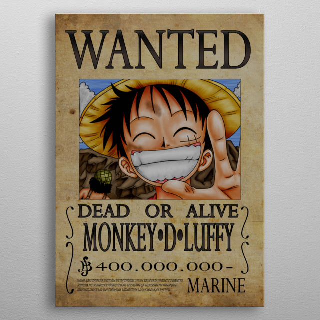 Wanted of Monkey D Luffy from One Piece metal poster