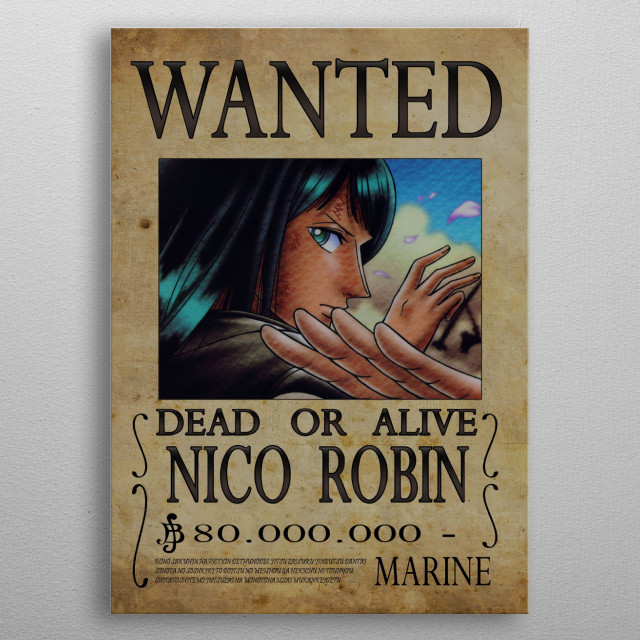 Wanted of Nico Robin from One Piece !! metal poster
