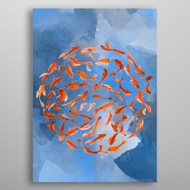 Koi fish swimming in a circle on a blue background. In watercolor metal poster
