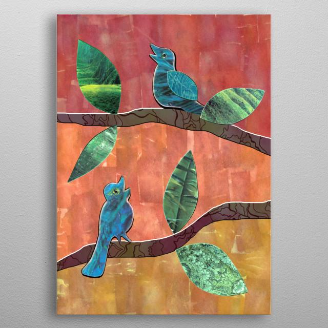 Singing Birds collage metal poster