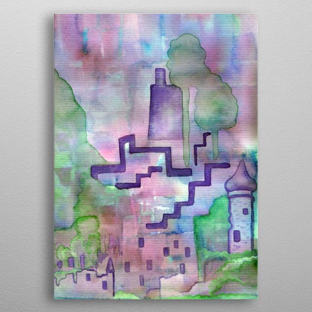 Castle Ruins - watercolor metal poster