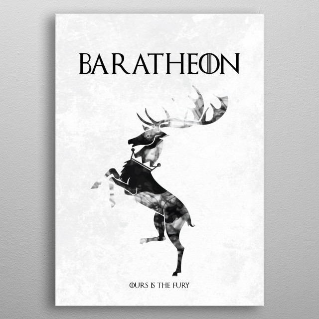 A poster for the Game of Thrones fan depicting the words and sigil of house Baratheon. Part of a collection of Game of Thrones house sigils b... metal poster