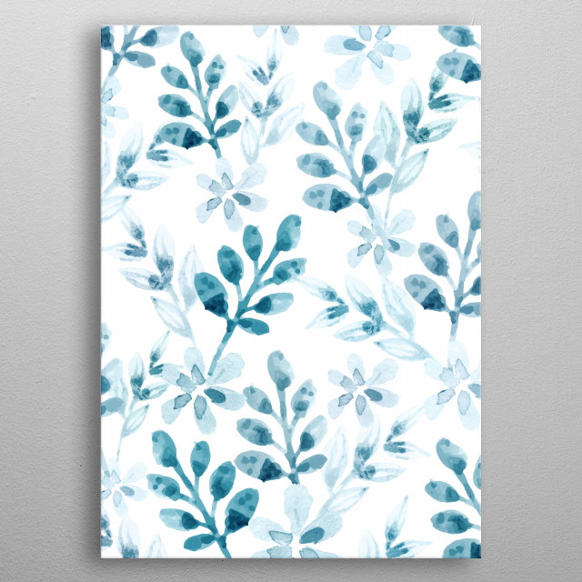 Watercolor Floral Pattern (Winter Version) metal poster