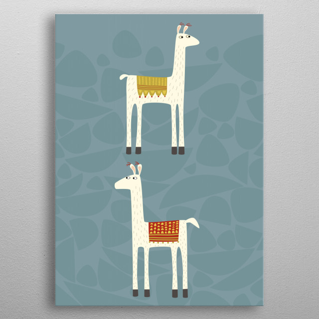 Two llovely llamas with colorful blankets. metal poster