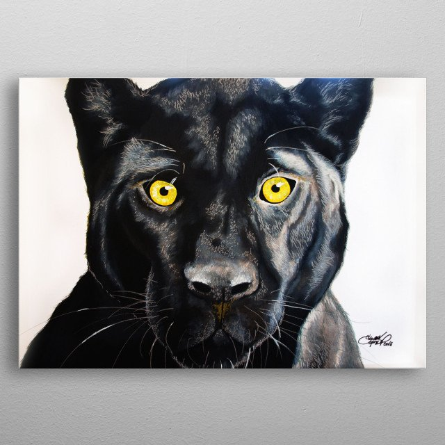 Panther on canvas - Acrylics metal poster