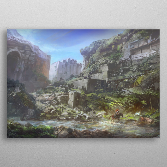 A rider racing through an ancient ruined city.  metal poster