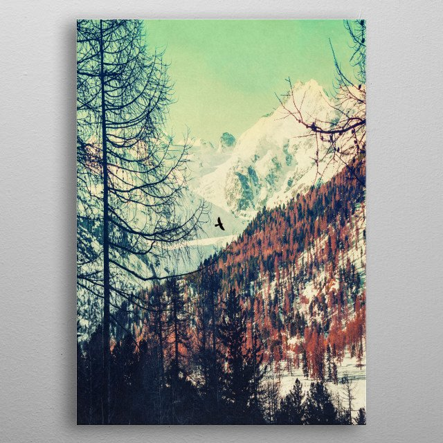 Sunrise in the Swiss alps on a late winter morning - textured photograph metal poster