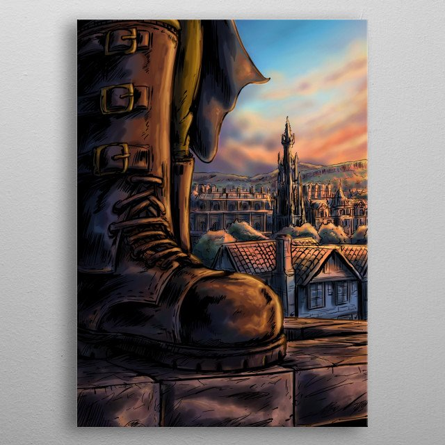 The cover image of The Fiend comic, set in Edinburgh, Scotland during World War II. metal poster