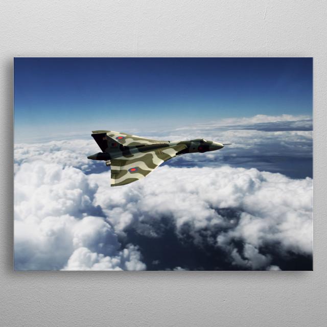 Avro Vulcan XH558 high in the clouds above the UK, vulcan, vulcan bomber metal poster