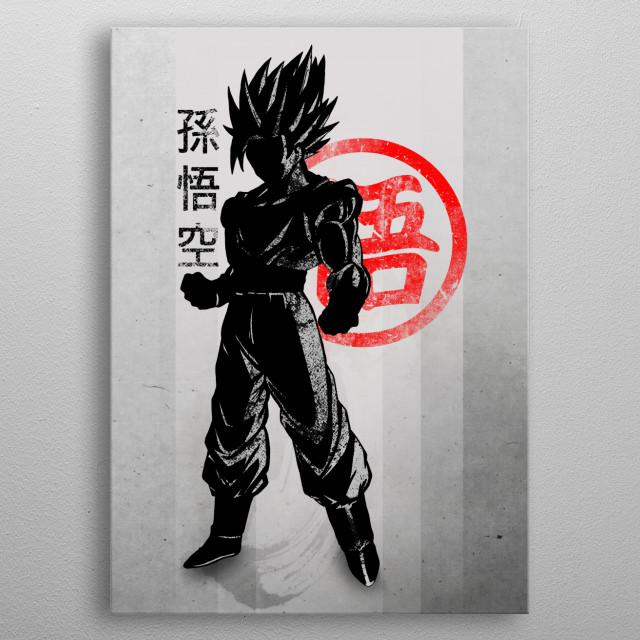Crimson Goku metal poster