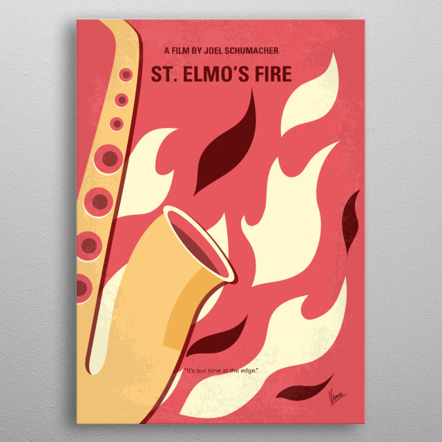 No657 My St Elmos Fire minimal movie poster  A group of friends, just out of college, struggle with adulthood.  Director: Joel Schumacher Sta... metal poster