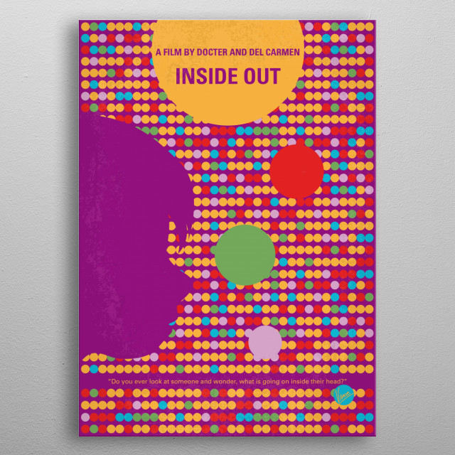 No664 My Inside Out minimal movie poster  After young Riley is uprooted from her Midwest life and moved to San Francisco, her emotions - Joy,... metal poster