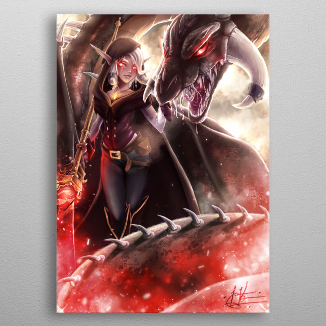 Original piece of an elf and her dragon, Rajani, and Dardanos metal poster