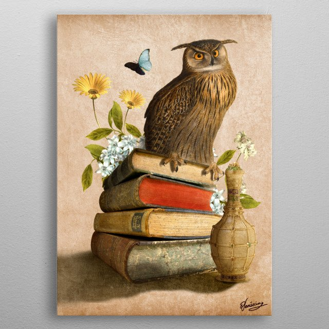 Wise Owl metal poster