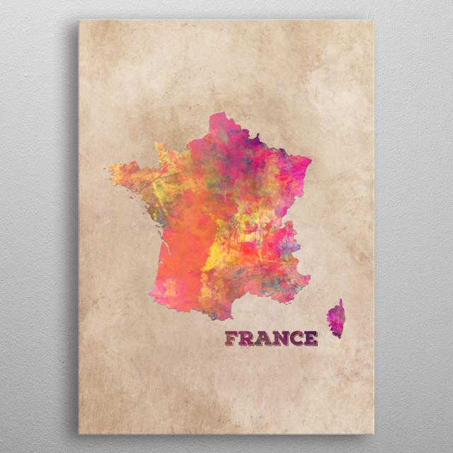 France map metal poster