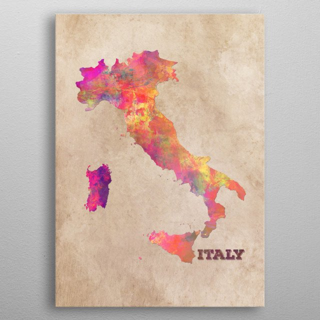 Italy map metal poster