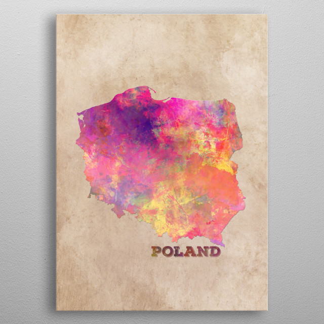 Poland map metal poster