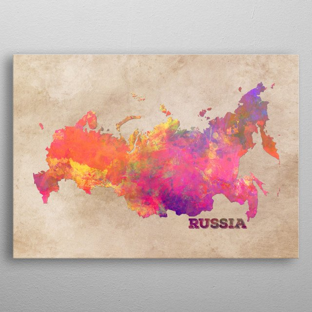 Russia map metal poster