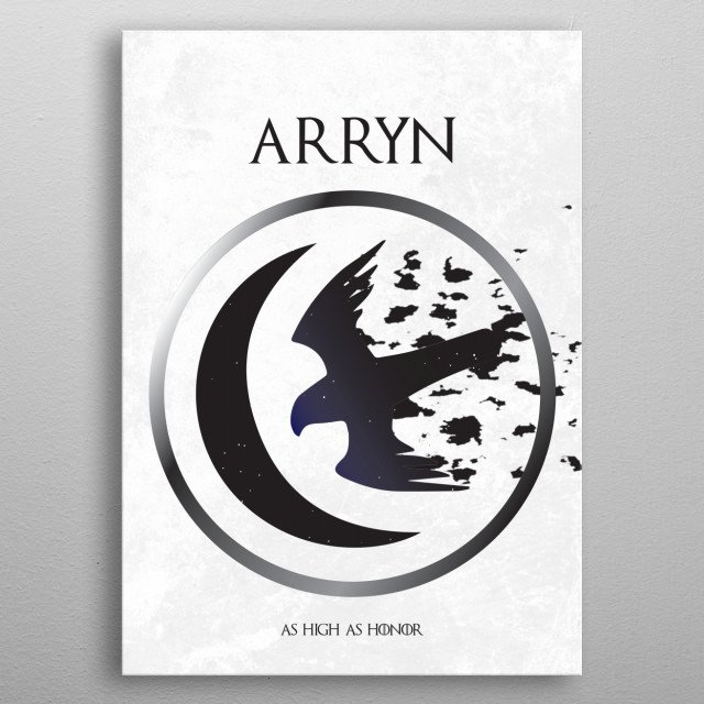 A poster for the Game of Thrones fan depicting the words and sigil of house Arryn. Part of a collection of Game of Thrones house sigils by La... metal poster