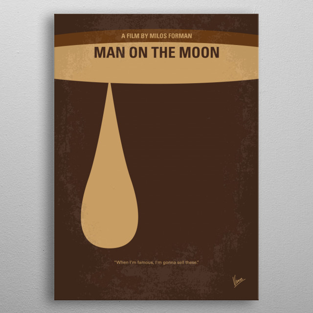 No675 My Man on the Moon minimal movie poster  The life and career of a legendary comedian, Andy Kaufman.  Director: Milos Forman Stars: Jim Carrey, Danny DeVito, Gerry Becker metal poster