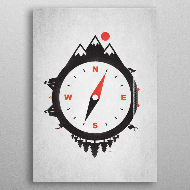 Adventure Compass metal poster