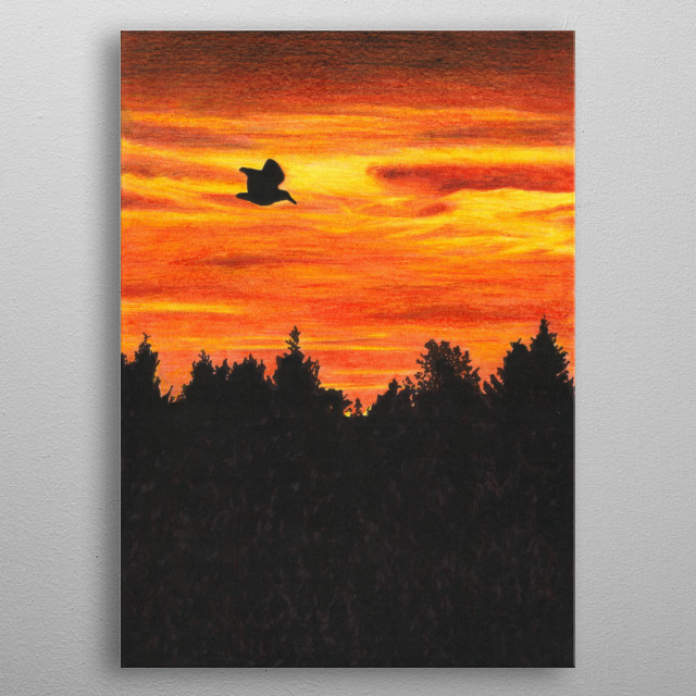 Sunset with bird | Drawing realized with colored pencils and chinese ink metal poster