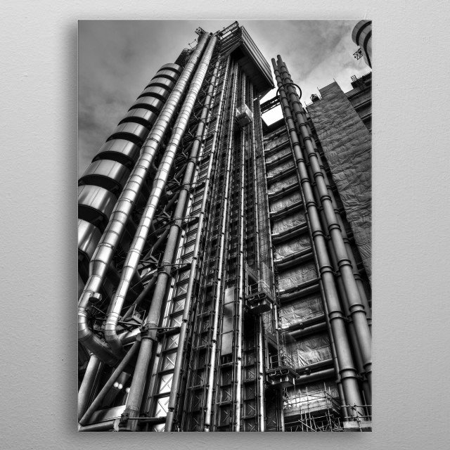 The Lloyd's building is the home of the insurance institution Lloyd's of London. It is located on the former site of East India House in Lime Street, in London's main financial district, the City of London. metal poster