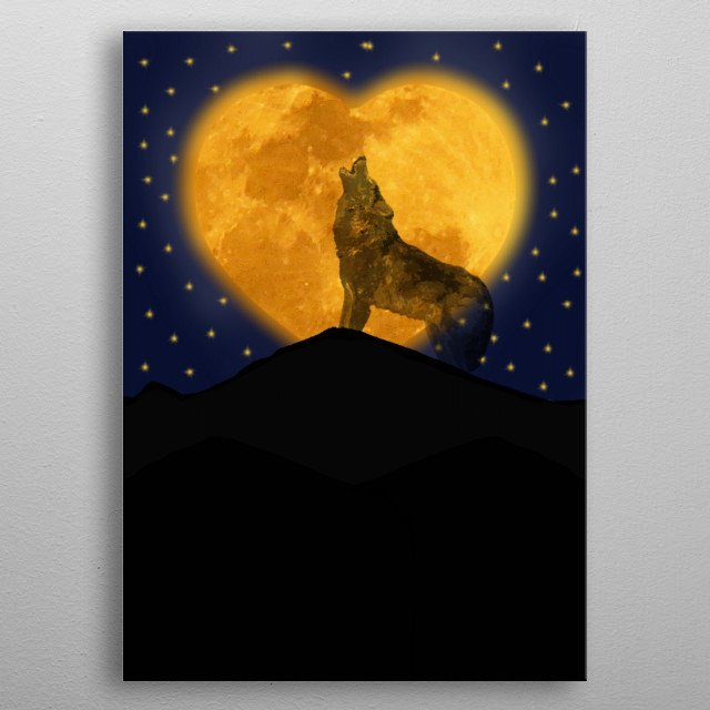 a lone wolf howls to the heart moon as he longs for love, hearing the a reply elsewhere metal poster