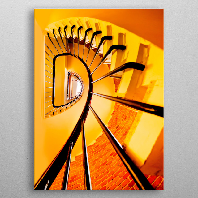Spiral staircase in yellow and orange colors metal poster